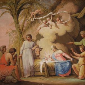 Antike religiöse Gemälde Anbetung der Hirten aus dem 19. Jahrhundert