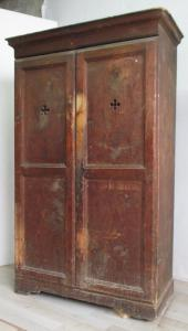 Rustic wardrobe in larch and fir - 700 XVII century - cupboard sideboard - small size.