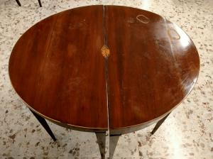 Double oval coffee table with half moon console