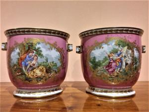 Coppia di Cachepot in porcellana di Sevres periodo romantico - Francia Primi 900