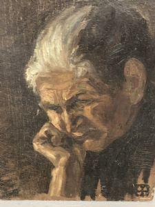 """Pintura antiga """"Pensando Velha"""" em painel duro cedo 900 cm 40 x 30"""