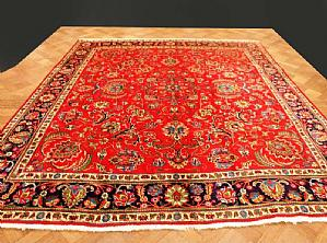 SPECTACULAR AND VERY DECORATIVE TABRIZ - QUOUM (QOM) A FLORAL DECORATIONS SHADES ON 'RED AND BLUE - 300x340 cm.