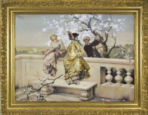 Virgiglio TOJETTI - pintura representando CENA GALANTE