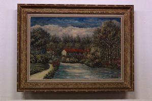 Dipinto quadro olio su tela paesaggio con casa e alberi oil on canvas painting
