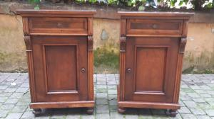 Pair of antique walnut bedside tables