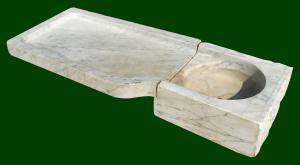Lavabo genovese in marmo bianco cm 150 - Italia inizio XX sec.