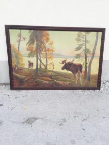 北欧绘画,大画幅130x195,无画框185x120,1900年初,法律保证很好的湖泊