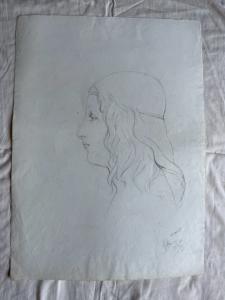 Pencil drawing on paper, Renaissance woman profile Arturo Pietra, Bologna, 1900.
