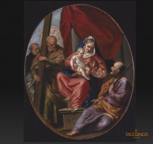 Alessandro Lanfranchi, Sacra Conversazione, antico dipinto religioso firmato
