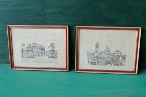 Paar Zeichnungen des Malers PA GARIAZZO TO