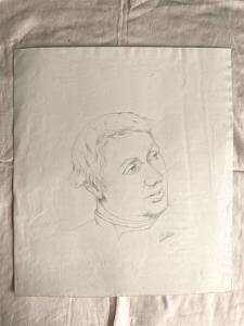 Dibujo a lápiz sobre papel, figura masculina Arturo Pietra, Bolonia.