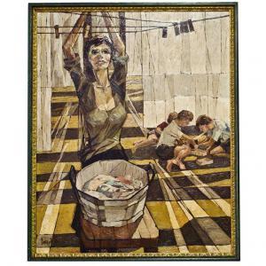 """意大利复古绘画,布面油画,索菲亚·罗兰电影中的""""灰色太阳"""""""