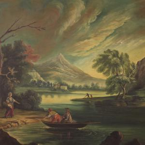 Italian painting view of a river with characters