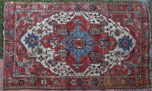 Persia, ca 1850 Mirabile and very rare ancient Serapi tribal carpet, intact, never restored, with an extraordinary delicate vegetable color