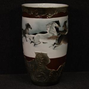 Chinese painted ceramic vase with horses