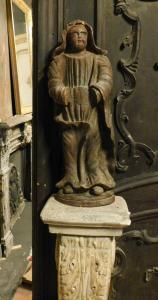 dars374 - statuina il legno, cm l 27 x h 75