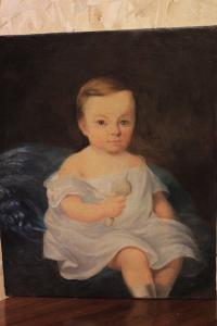 Beautiful ancient oil painting on canvas 800 'portrait little girl (612)