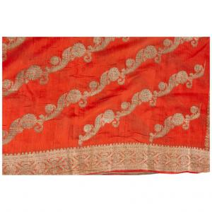 Antique coral colored Indian Sari