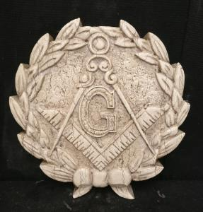 Medaglione massonico finemente scolpito - Diametro 40 cm - Marmo d'Istria - Periodo 1800