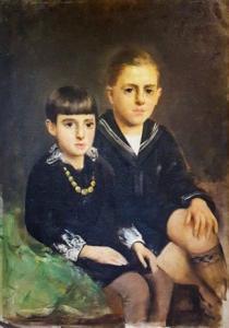 """""""两个少年的肖像""""-Luigi Serralunga的油画,Luigi Serralunga的油画"""