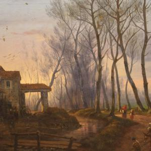 Antique French painting countryside landscape from 19th century