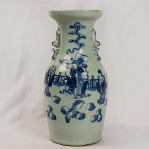 Vaso bianco blu con saggi Periodo Tao Kuang della dinastia Ching