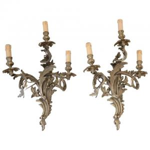 par de apliques antigos em bronze dourado do século 19