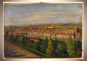 Olio su tela (Veduta Firenze) - Oil on canvas (Florence view)