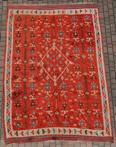Rare kilims, flat-woven Central Anatolia Aksaray full eight hundred, from the archaic symbolism nomad