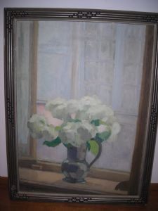 VASE OF FLOWERS ON SILL
