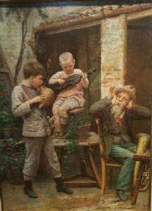Tre suonatori, Autore Edgardo Saporetti