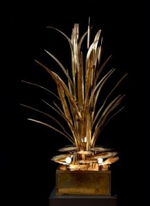 Impressive Lamp by Maison Jansen with Leaves and Reeds