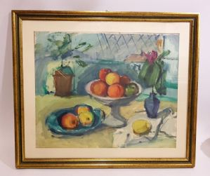 Painting Epifanio Pozzato. Still Life with Fruit