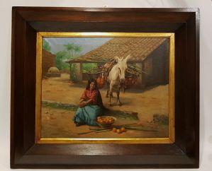 """Peinture """"Fille avec Mule"""" cadre en bois"""