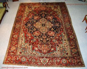 Persia, full or maybe the early nineteenth century. Admirable ancient tribal Heriz carpet Serapi