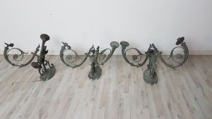 Three large majestic antique bronze sconces worked end 1800 SecXIX 2 lights € 1,500.00 negotiable