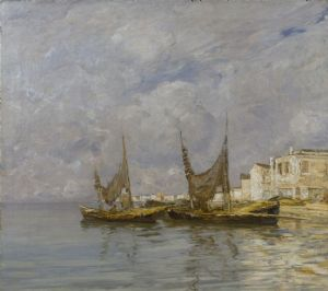 Guglielmo Ciardi, boats in the lagoon, 1905
