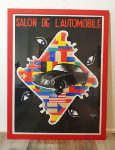 "A 1961 ""Salon de l'Automobile"" Car Poster signed by Aumoine.Vintage Poster"