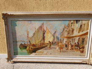 OIL ON CANVAS 60X12O BOATS IN VENICE