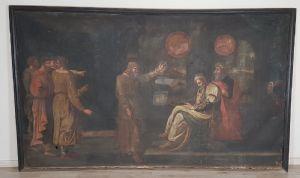 Big vieille peinture 250 x 153 huile sur toile épisode de la Genèse XVII siècle