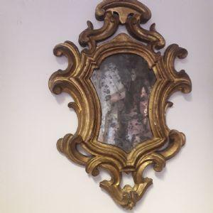 Espejo tallado en pan de oro. Bologna Sec XVII