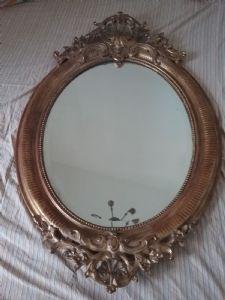 Specchiera ovale 115x80 dorata epoca 1800