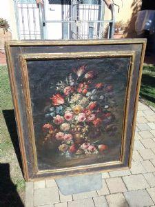 Dipinto con fiori 90x110 con cornice a cassetta del 1600