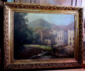 vintage oil painting. '800 mis. 90 x 110 cm with frame,