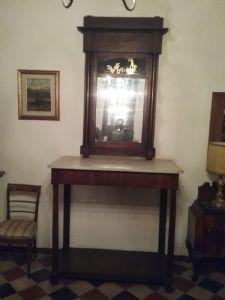 Consolles lucca listrata noce marmo bianco carrara cassetto specchio con dipinto dorato  patina dell epoca  primo impero  garanzia termini di legge