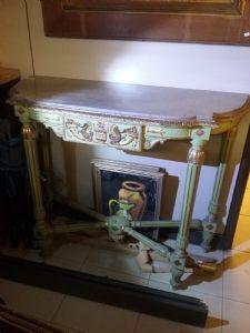Consolles con specchiera  poltrona e sedia marmo bardiglio periodo neoclassico genoa lacca verde e oro con motivi a cornucopia