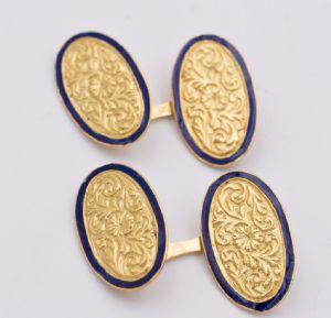 Zwillinge aus 18 Karat Gold und Emaille