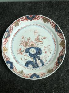 Majolica plate in the style of 'imari'.Delft, Holland.