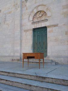 Scivania lastronata in stile luigi xvi toscana da centro epoca 1800 l 108 xh80 p58 filettata