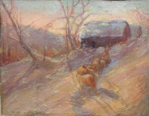 Pittura invernale con pecore